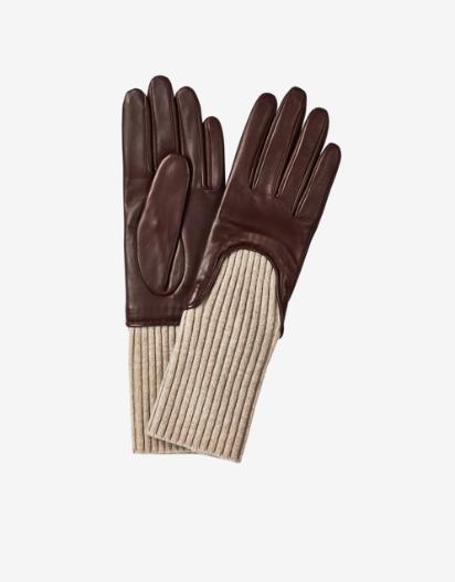 Beautiful wool rib gloves in bordeaux